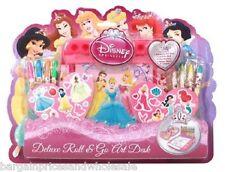 DISNEY Princess Deluxe Roll & Go Art Desk Set scrivania stazione da colorare giocattolo 14pc