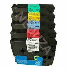 5PK Black on color Label Tape Compatible for Brother TZ TZe 231 431 531 631 731