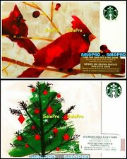 2x STARBUCKS 2015 CHRISTMAS TREE CARDINALS TURN THIS TO FREE DRINK GIFT CARD LOT