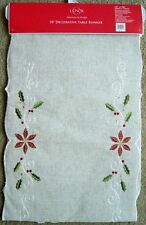 "Lenox FRENCH PERLE #7439 Poinsettia Table Runner 14"" x 70""~Embroidered~NEW $50"