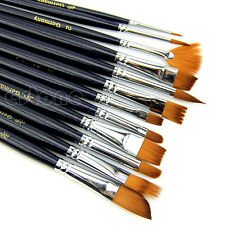 12X Artist Paint Brush Set Nylon Hair Watercolor Acrylic Oil Painting Supplies