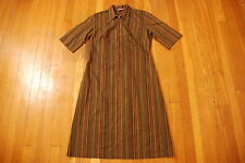 Vintage HALLIE LEEDS striped cotton mod cloth 60s 70s earth tones Womens dress L