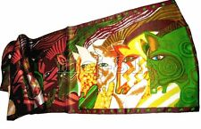New 100% Silk Green Animals Horse Head Pattern Soft Long Shawl Scarf Stole Wrap