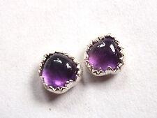 Tiny Purple Amethyst Stud Post Earrings 925 Sterling Silver Corona Sun Jewelry