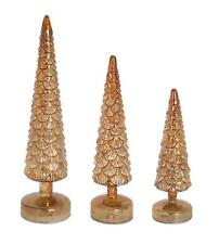 Melrose Gold Mercury Glass Pinecone Topiary Christmas Trees, Set of 3