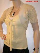 10/8 NEW  BABY YELLOW/ LEMON SILVER GLITTER SHORT SLEEVE CROCHET SHRUG 6