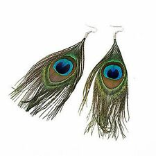 Style Bohême Grande Oeil De Paon Plume Dangle Earrings