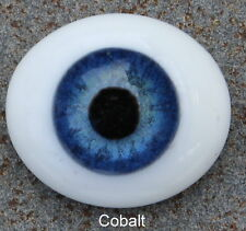 Reborn Doll Eyes, Glass Oval Flatback, Cobalt Blue 22mm