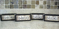 Four Different Sayings Country Primitive Distressed Wooden Sign Shelf Sitters
