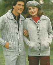 "Chunky Ladies Jacket Knitting Pattern Plain or Patterned Mens 32-46"" 567"