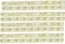 4 large sheets ADOPTED in LOVE Scrapbook Border Stickers Gold Silver Baby Child