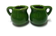 2 Mini Green Round  Water Pitcher Jug Dollhouse Miniatures Ceramic Kitchen
