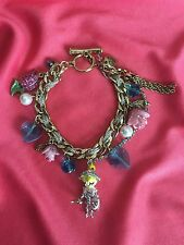 Betsey Johnson Vintage Fairyland Tulip Pink Rose Knight Boy Doll Heart Bracelet