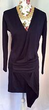 Vanessa Bruno blue solid asymmetrical wool blend draped drop waist dress sz 1