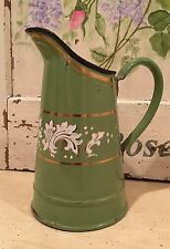 Lovely Rare Small French Enamel Pitcher ~ Green with Raised White Floral Design