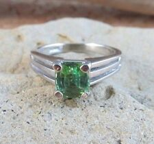 Genuine Natural 1.20ct Sparkling Green Peridot 14K White Gold Ring Size 5.5