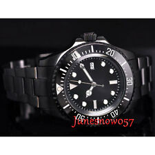 Parnis 44mm Black dial date PVD case ceramic bezel SEA Automatic men's watch P66