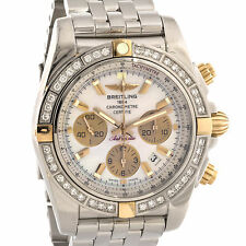 Breitling Chronomat 44 Rose Gold Steel Auto Pearl Dial Mens Watch IB011053/A697