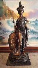 "Bronze Athena Greek Goddess Statue with Spear 25"" tall on Marble base Mint"