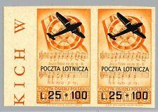 """CORPO POLACCO - PA - 1946 - 1 £. sovrastampato """"POCZTA LOTNICZA"""" - non dentell."""
