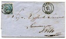 1866, Italien, 20 C auf 15 C blau, gute Type II (sassone 24) auf Brief Napoli