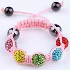 CHILDS MULTI COLOUR SHAMBALLA BRACELET-5 CLAY DISCO BEADS-CZECH CRYSTAL-UK-PINK