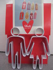 M&S PHOTO FRAME IN WHITE METAL NOVELTY HEART SHAPED DOUBLE TRUE LOVE - BNWT