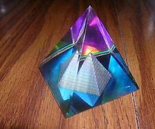 COLORFUL 50MM LEAD CRYSTAL EGYPTIAN PYRAMID GLASS PRISM VITRAIL SUN RAINBOWS