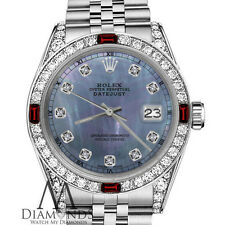 Ladies Rolex 26mm Datejust Tahitian MOP Dial with Ruby & Diamod Bezel RT Watch
