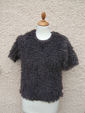 Topshop Mink Soft Fluffy Knit Short Sleeve Jumper Sweater Size 6 8