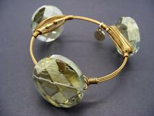 $38 Rebecca Minkoff Brass Wire Metal Bracelet w/Green Faceted Crystals **AS-IS**