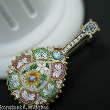 Antique solid silver micro mosaic brooch gilt guitar Italian 800 great gift