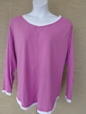 NEW Just  My Size L/S scoop neck Twofer Tee Top lavender/white 2X