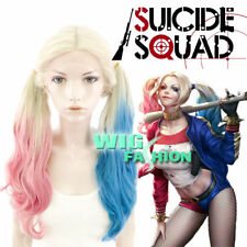 New Suicide Squad Harley Quinn Synthesi Wig Pink Blue Gradient Hai For Halloween