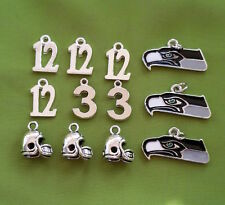 Seattle Seahawks Charms: Mix of Helmets, Numbers and 2015 Logo Charms set of 12