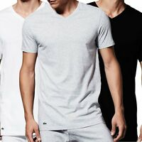Lacoste Men's Essentials Supima Cotton 3-Pack V-Neck T-Shirt, Black /Grey/ White