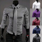 New Man Mens Luxury Formal Casual Slim-Fit Dress Long Sleeve Shirt Size S M L XL