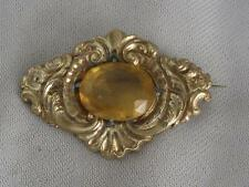 ANTIQUE EARLY/ MID VICTORIAN ORNATE PINCHBECK PIN  -18 CARAT CITRINE PASTE STONE