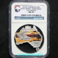 2014P Australia Map Shaped Series Crocodile 1oz Silver Colorized Coin NGC MS70!!