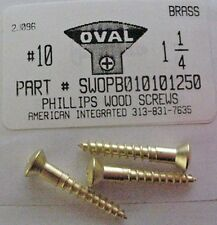 #10x1-1/4 Oval Head Phillips Wood Screws Solid Brass (10)