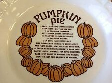 * VINTAGE * Pumpkin PIE Royal China Ceramic Plate Country Harvest with Recipe