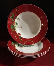 Lenox WINTER SONG Rimmed Soup Pasta Bowls Lot of 4 NWT