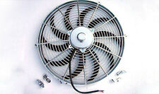 "16"" Chrome Heavy Duty 2750 CFM Radiator Cooling Fan S blade street rod"