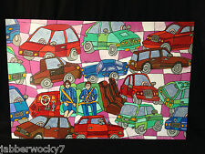 """Original 1980's CARS Painting """"The Auto Show"""" signed by Bonnie Sohn cubist style"""