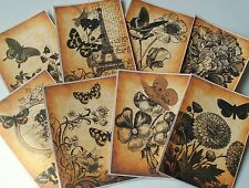 Vintage Paris Eiffel Tower Butterfly ~ Card Toppers / Scrapbooking / Card Making