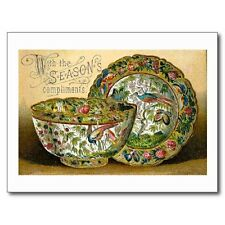 """+""""With Season's Compliments""""-Dishes Victorian-(Picture on ~Post Card~/ (B-403"""