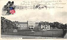 HOUSE OF MERCY HOSPITAL PITTSFIELD MASSACHUSETTS PATRIOTIC POSTCARD 1906