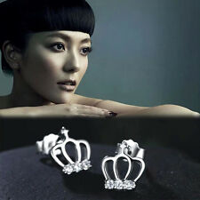 1 Par Princess Crown Silver Plated Rhinestone Ear Stud Pendientes Joyeria BJC