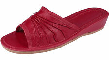 LADIES WOMEN GIRLS LEATHER RED SLIPPERS SANDALS FLIP-FLOP GIFT SIZE UK 6 EU 39
