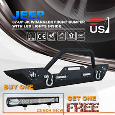 Front Bumper 07-16 Jeep Wrangler JK With LED Fog Winch Mount Plate & Work Lights